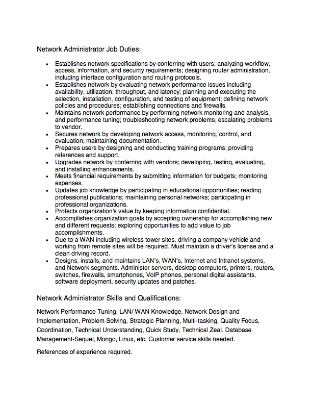 Administration Job Description Templatesystem Administrator Job