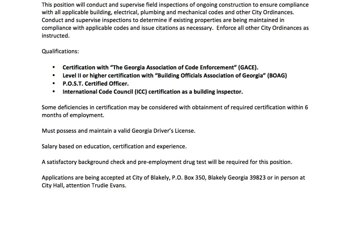 City Marshal Job Opportunity City Of Blakely Georgia
